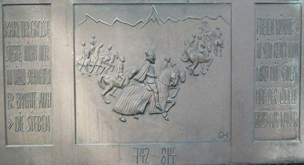 Denkmal zur Erinnerung an den angeblichen Import der sieben freien Künste nach Aachen durch Karl den Großen