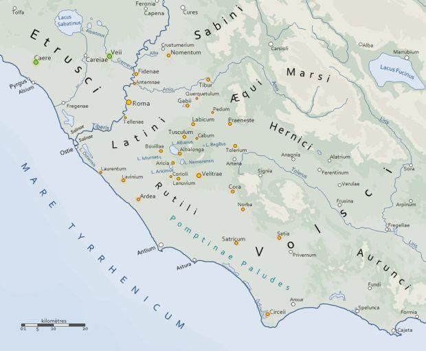 Die antiken Städte Latiums, die zusammen die Lateinische Liga bildeten