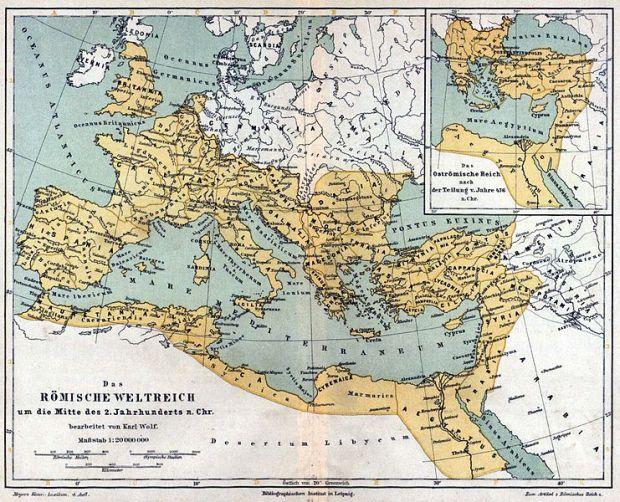 Das Römische Weltreich um die Mitte des 2. Jahrhunderts n. Chr.